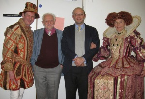 The Earl of Southampton, Prof Wells, the Rev Dr Paul Edmondson and Queen Elizabeth I