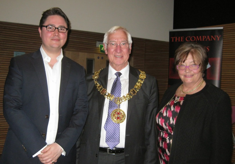 James Wills, Literary Agent, Watson Little and the Right Worshipful the Mayor and Mayoress of Winchester, Cllr Ernie Jeffs and Mrs Barbara Jeffs.